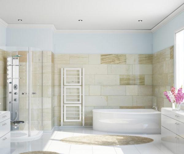 Sauberes modernes Bad mit Fliesen aus Terrakotta